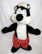 Vintage Pepe Le Pew 1997 Looney Tunes 13 Red Boxer Shorts Stuffed Plush (D2)