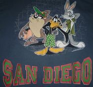 Vtg 1995 Looney Tunes Shirt Bugs Bunny Daffy Duck Taz San Diego Sweater XL Mens