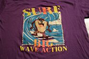 Vintage 90s Taz Surf Big Wave Action T-Shirt Looney Tunes XL Artex Surfing Purple