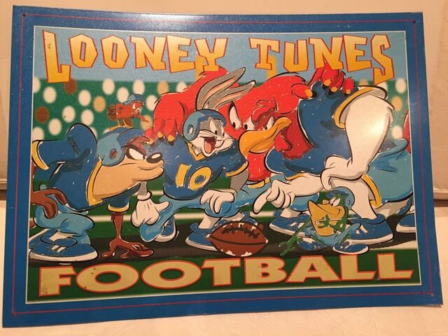 File:Looney Tunes Football Cartoon Classic vtg Tin Metal Sign Warner Brother 1990's.jpg