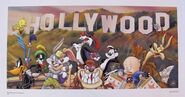 LOONEY TUNES HOLLYWOOD Limited Edition Art Lithograph Bugs Bunny Taz Marvin Wile