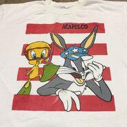 Vtg 90s Looney Tunes Bugs Bunny Tweety Bootleg Tee Acapulco Mexico