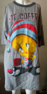 Vtg 90s Warner Brothers WB Tweety Bird Slyvester Got Coffee Nightgown Pajama Top PJ's OSFM