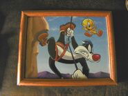 Sylvester Tweety Bird WB Looney Tunes Picture Frame '90's 12x14 Rock Climbing