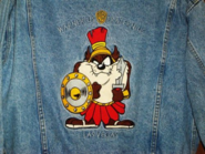 Vtg LOONEY TUNES TAZ Denim Jean Jacket WB VEGAS Adult M