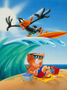 Daffy Duck Beach Porky Pig Looney Tunes Cool Funny Art 24x18 Poster Canvas Print
