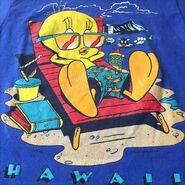 1990s Tweety vintage t-shirt, tee, vtg, blue, looney tunes, warner bros, beach, sylvester, sea, ocean, sand, sun, block, glasses, hawaii