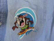 Warner Brothers Looney Tunes Denim Embroidered Shirt Taz Surf Board Hawaiian