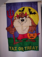Taz or Treat Looney Tunes Large 28x42 applique Halloween Flag Tasmanian Devil