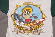 Vintage Taz Ho-Dad Surfer Button Up Baseball Shirt Looney Tunes 1996 surf skate