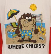 Vintage 1986 Taz Beach Fun WHERE CHICKS Tasmanian Devil T-Shirt 23 Pit2Pit