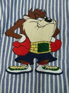 Acme Looney Tunes Taz Shirt Large Boxer Boxing Blue White Embroidered