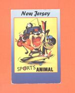T POSTCARD NEW JERSEY SPORTS ANIMAL TASMANIAN DEVIL COMIC POST CARD