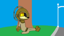 Wile E. Coyote in a Diving Suit Sitting on a Grass