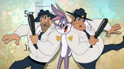 Bugs Poses with Two Officers