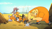 Crusher Drives his Pickaxe in Bugs and Daffy's Chain