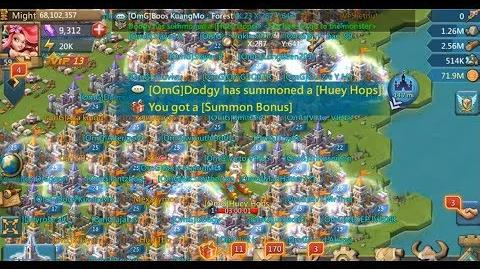 Lords mobile Huey Hops was summoned (guild bash)