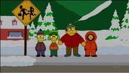 Bart y sus amigos vestidos de los personajes de SoutPark