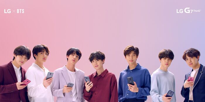 Bts background pink and blue