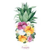 Greeting-card-pineapple-leaves-palm-leaf-multicolored-flowers-watercolor-sunny-perfect-wedding-invitations-quotes-logos-151768992