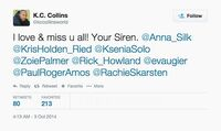 K.C. Collins (Season 5 End of LG) tweet