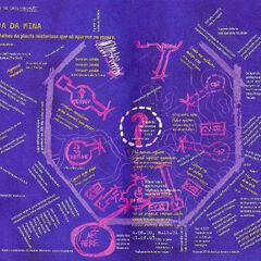 O mapa com suas anotações traduzidas para o português. Retirado da edição especial da revista Super Interessante.