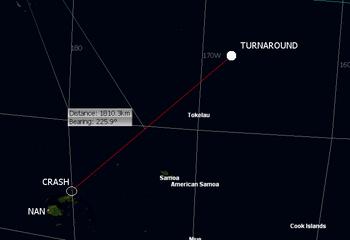 Flight path Turnaround toward NAN
