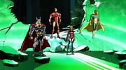 Thor, Iron-Man, Ms. Marvel, Avispa y Visión