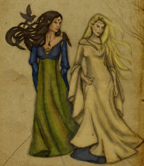 Galadriel and melian by yalanrei