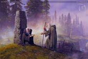 Stein der Unglücklichen mit Morwen und Húrin