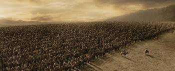 Szarża Rohirrimów podczas Bitwy na Polach Pelennoru – kadr z filmu Władca Pierścieni: Powrót króla