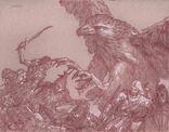 Thorondor und Glorfindel im Kampf gegen die Orks auf dem Cirith Thoronath