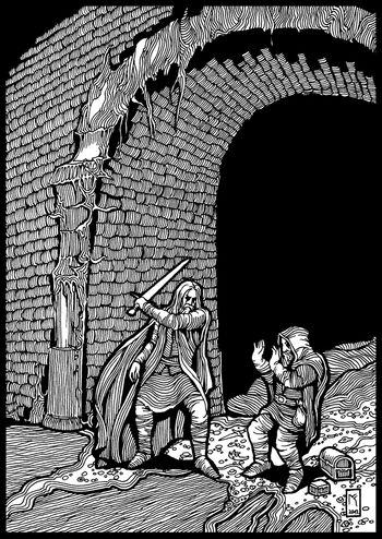 Hurin zabija Mima (autor: Michał Kwiatkowski)