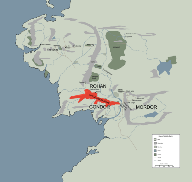 Image   WHITE MOUNTAINS location map in middle earth.PNG | The One