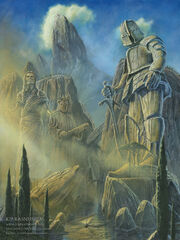Sunrise on the colossi in numenor by kiprasmussen