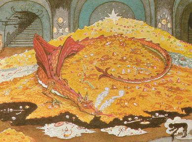 JRR Tolkien's original painting of Smaug in conversation with Bilbo Baggins