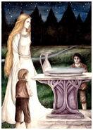 Galadriels Spiegel mit Galadriel, Frodo und Sam