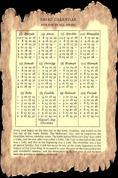 Shire calendar