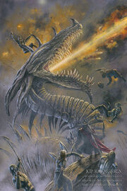Azaghal of belegost vs glaurung at the nirnaeth by kiprasmussen