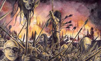 ciało zabitego Celebrimbora niesione na czele armii Saurona