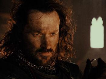Isildur z Jedynym Pierścieniem w Górze Przeznaczenia