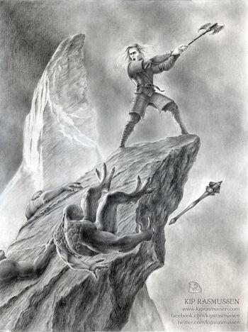 Húrin walczący samotnie (graf. Kip Rasmussen)