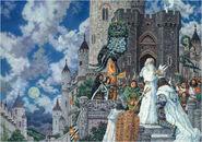 Гэндальф надевает корону Воссоединённого Королевства на Арагорна