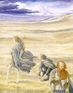 Арагорн, Леголас и Гимли около Эдораса