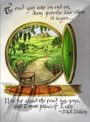 Drawing, The Road Goes Ever On and On, from http://lotr.wikia.com/wiki/The_Road_Goes_Ever_On_and_On