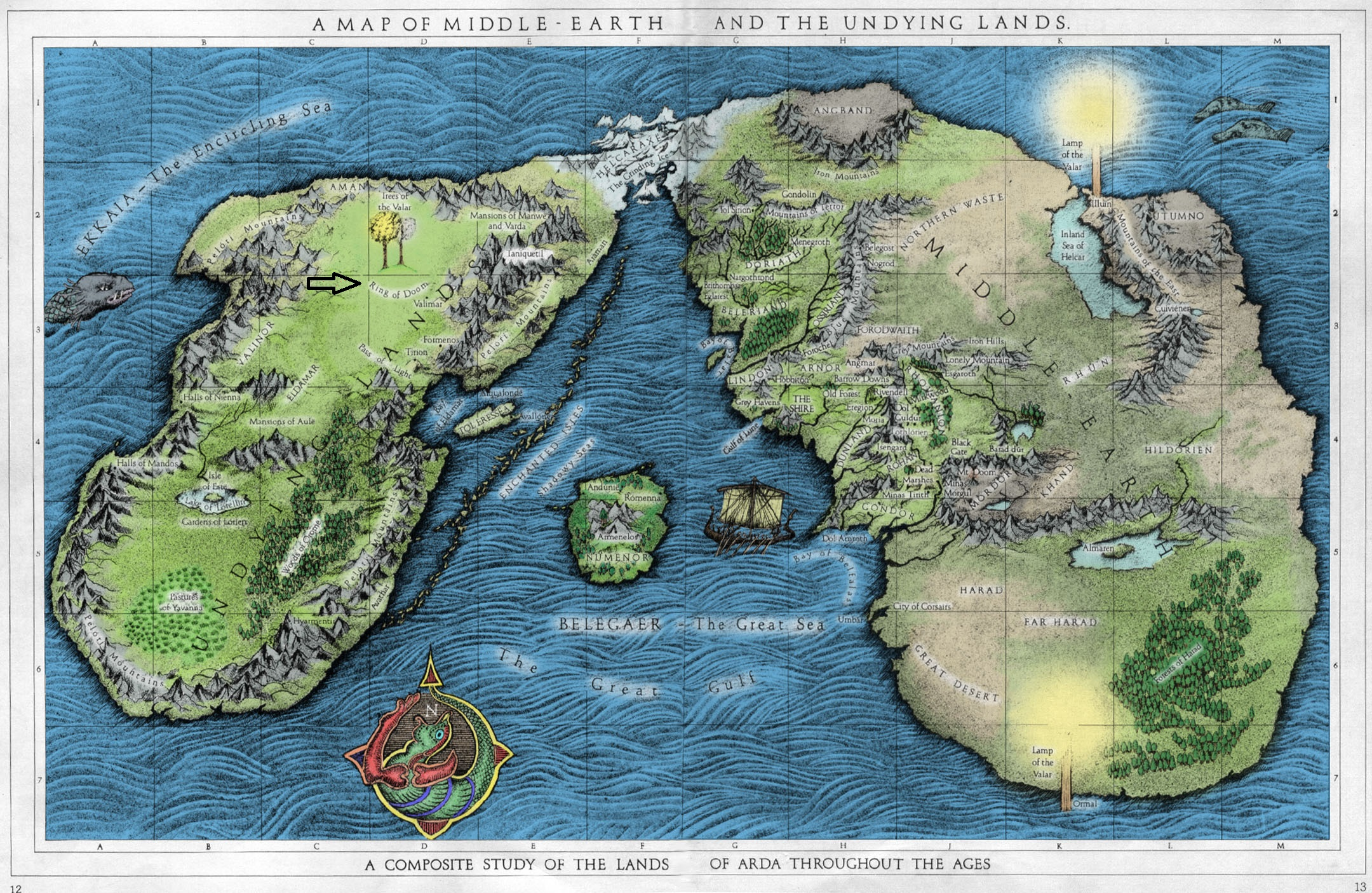 a map of middle earth and the undying lands colorjpg