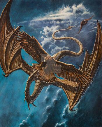 Orły atakują Ancalagona podczas Wojny Gniewu (graf. Kip Rasmussen)