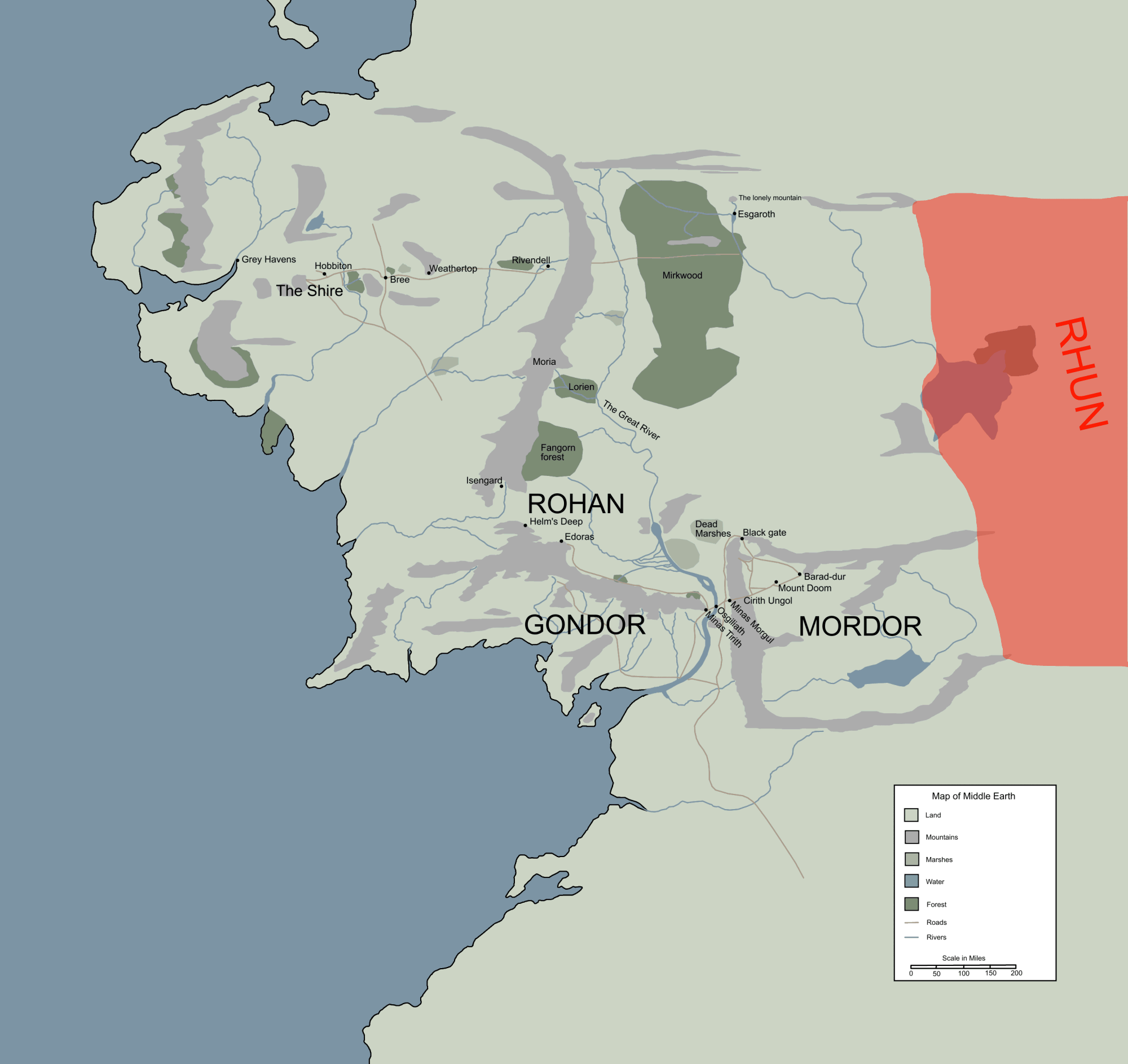 rhun location map in middle earthpng