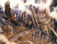 Gandalf escapes on Gwaihir, by Alan Lee