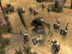 Cave troll vs gondor soldiers